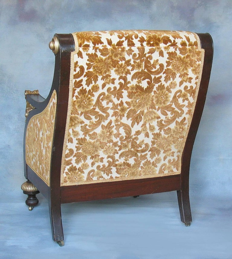 American Mahogany Parcel-Gilt Bergère Armchair, New York,  circa 1880 In Excellent Condition For Sale In Ottawa, Ontario