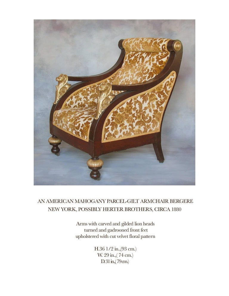 American Mahogany Parcel-Gilt Bergère Armchair, New York,  circa 1880 For Sale 2