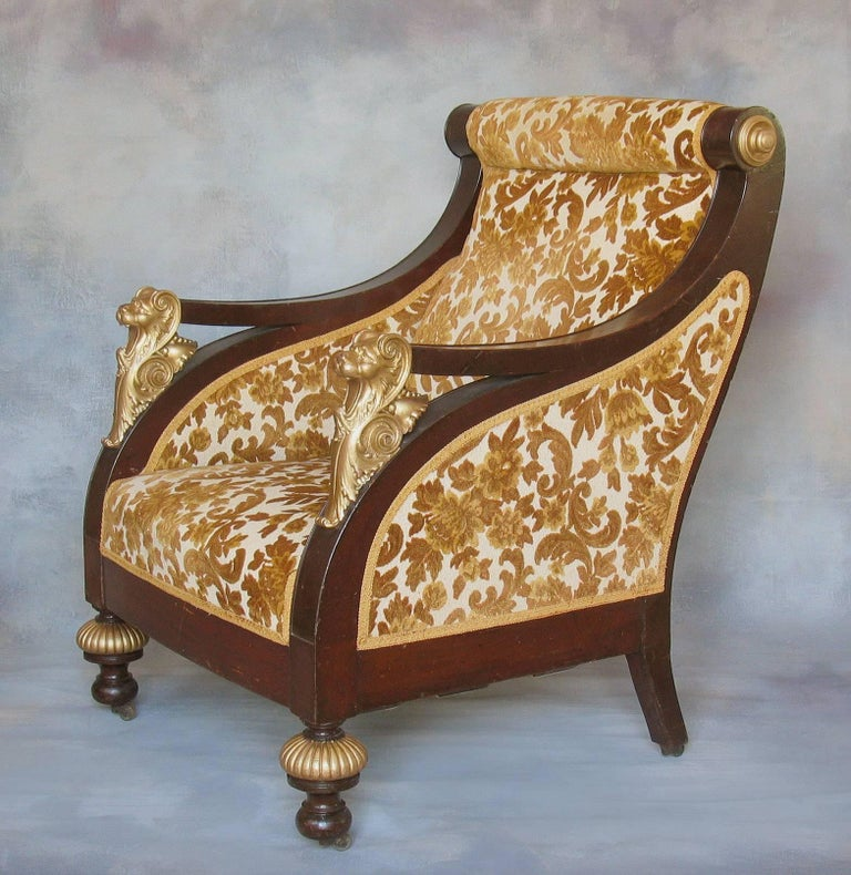 American Mahogany Parcel-Gilt Bergère Armchair, New York,  circa 1880 For Sale 3