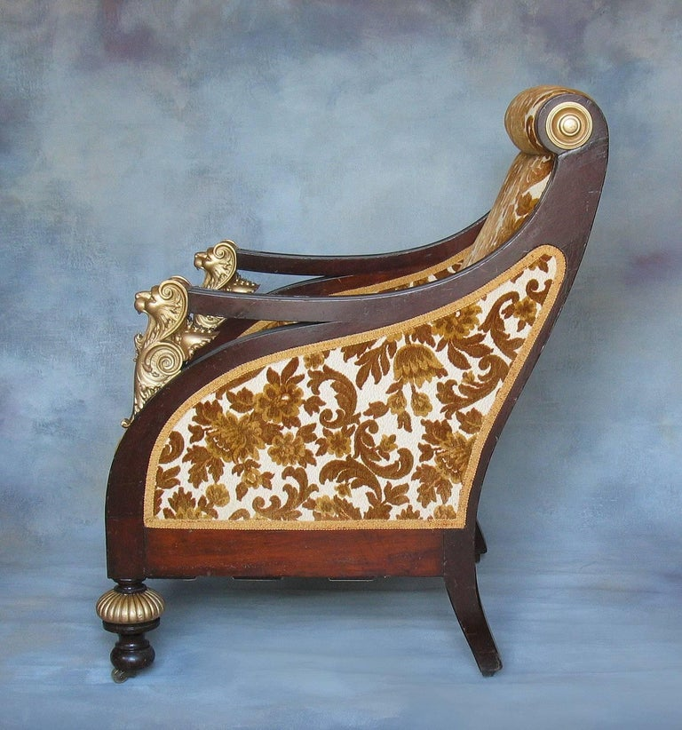 American Mahogany Parcel-Gilt Bergère Armchair, New York,  circa 1880 For Sale 4