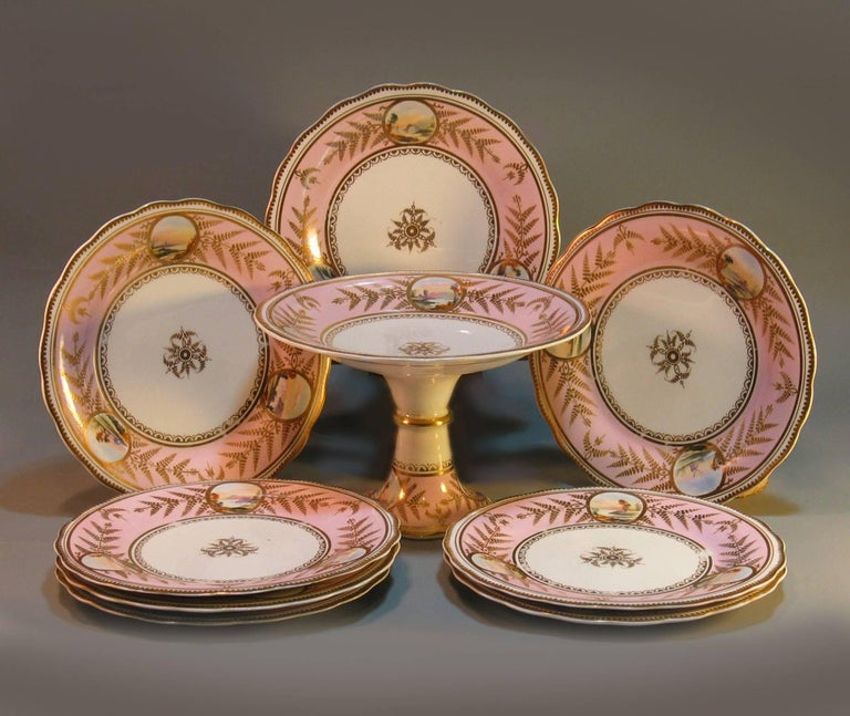 Victorian English Scenic Porcelain Dessert Service, Mid-19th Century For Sale
