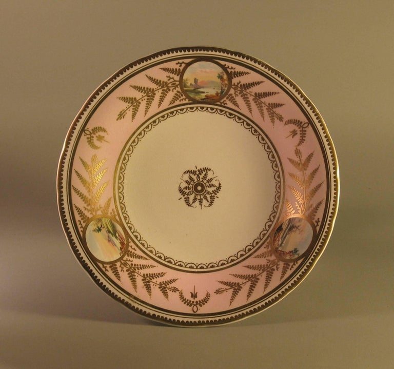 Cold-Painted English Scenic Porcelain Dessert Service, Mid-19th Century For Sale