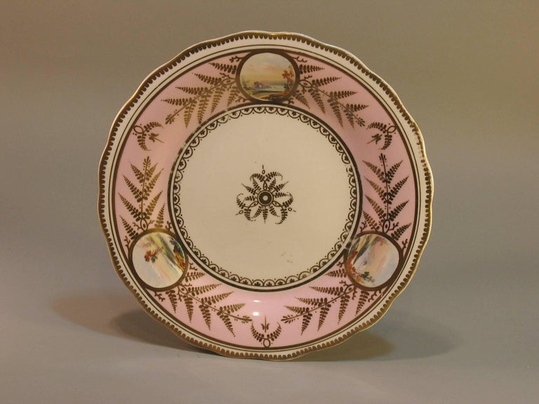 English Scenic Porcelain Dessert Service, Mid-19th Century For Sale 1