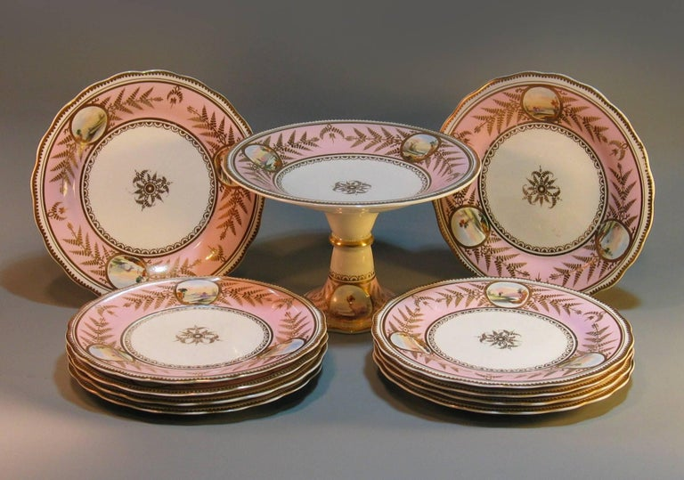 English Scenic Porcelain Dessert Service, Mid-19th Century For Sale 3