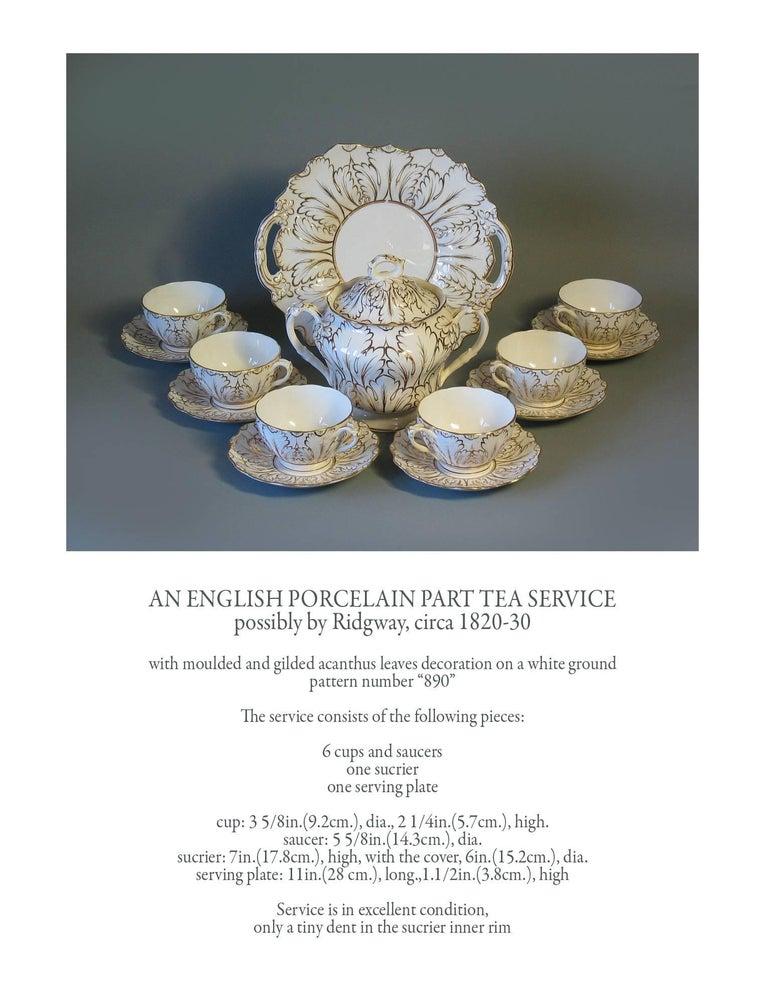 English Porcelain Part Tea Service, circa 1820-1830 For Sale 4