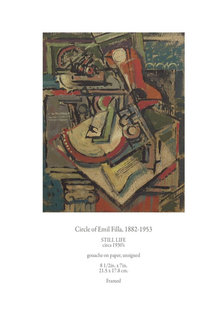 Circle of Emil Filla, (Czech), 1882-1953, still life, circa 1930s, gouche on paper, unsigned, Cubist style painting in a wonderful array of colors, the painting measures 8 1/2