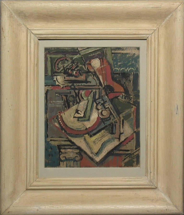 Art Deco Painting Still Life/Cubist Circle of Emil Filla, 1882-1953 Gouche on Paper