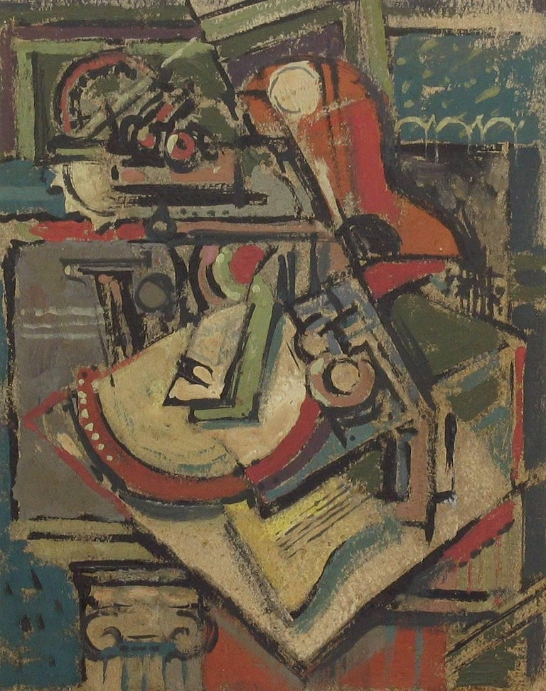 Painting Still Life/Cubist Circle of Emil Filla, 1882-1953 Gouche on Paper 1