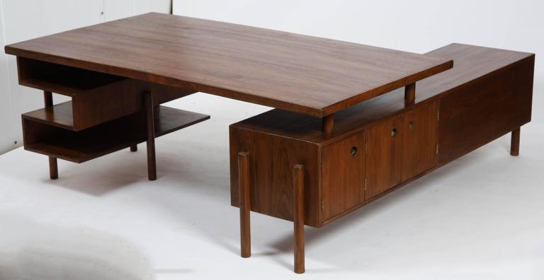Indian Pierre Jeanneret Rare and Exceptional Administrative Office Desk For Sale