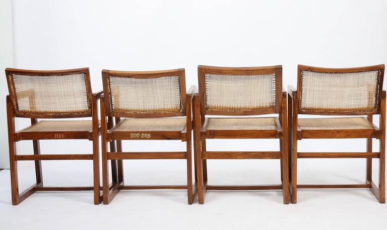 Indian Pierre Jeanneret Set of Four Armchairs For Sale