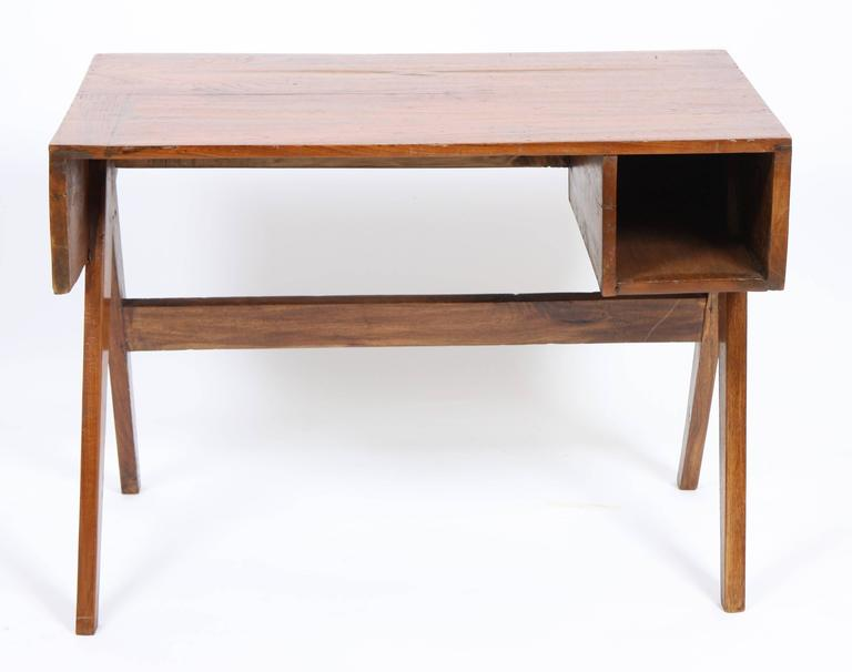 Indian Pierre Jeanneret Office Solid Desk For Sale