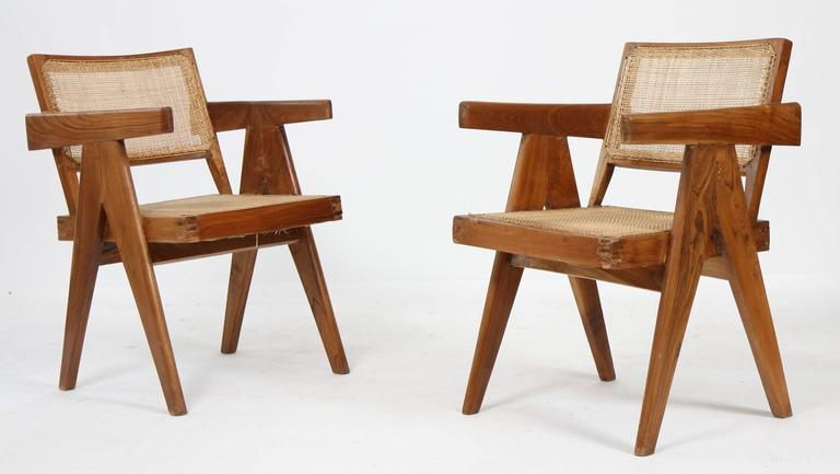 """Set of Two Armchairs called """"Office Cane Chairs"""" of Pierre Jeanneret 2"""