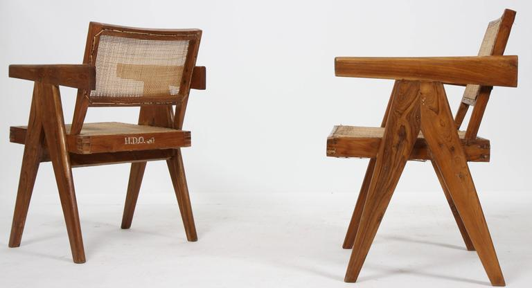 """Set of Two Armchairs called """"Office Cane Chairs"""" of Pierre Jeanneret 3"""