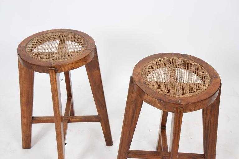 Pierre Jeanneret Set of Two High Stools Round 2