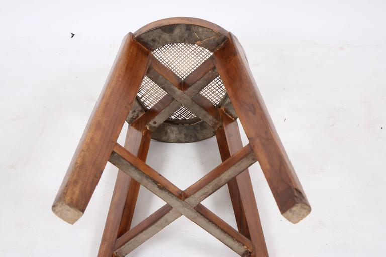 Pierre Jeanneret Set of Two High Stools Round 3