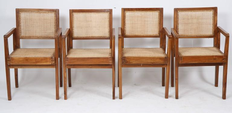 Indian Pierre Jeanneret Set of Four Chairs