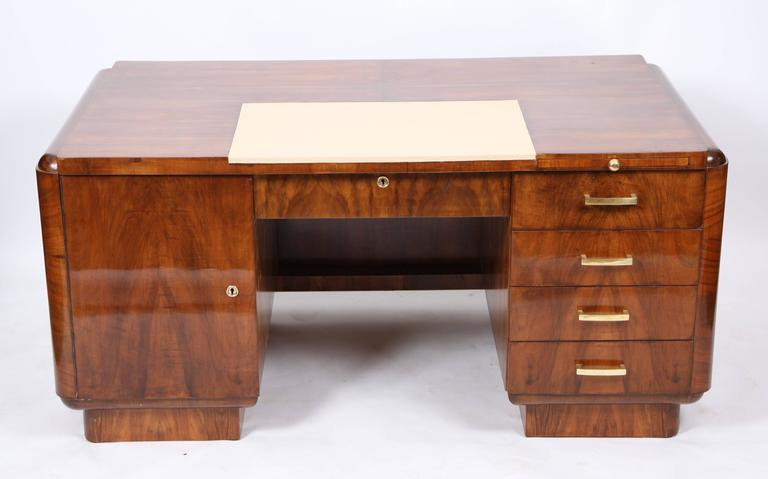 Office Desk Art Deco In Walnut And Veneer Opening A Large Central Drawer