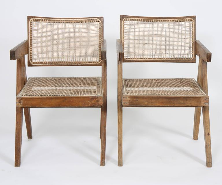 Pierre Jeanneret Set of Two Office Cane Elegant Chairs 3