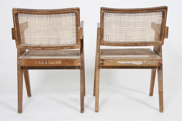 Pierre Jeanneret Set of Two Office Cane Elegant Chairs 4