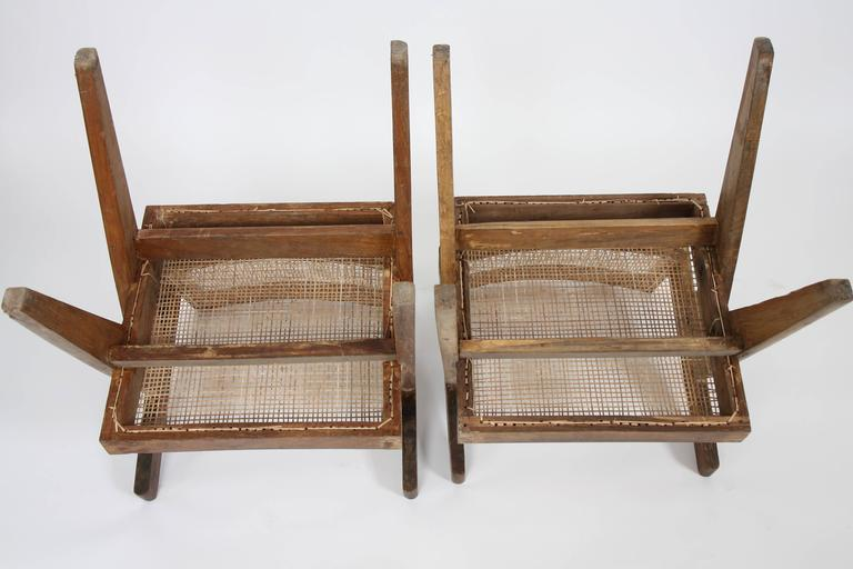 Pierre Jeanneret Set of Two Office Cane Elegant Chairs 7