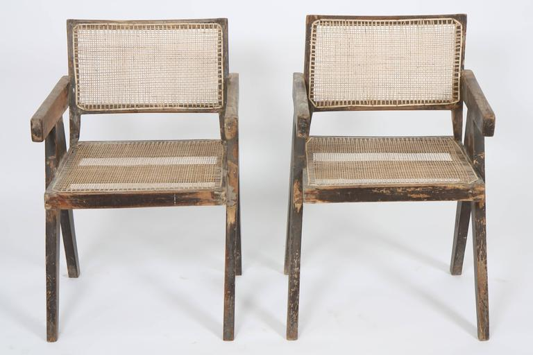 Pierre Jeanneret, Set of Two Armchairs Called Office Cane Chairs 3