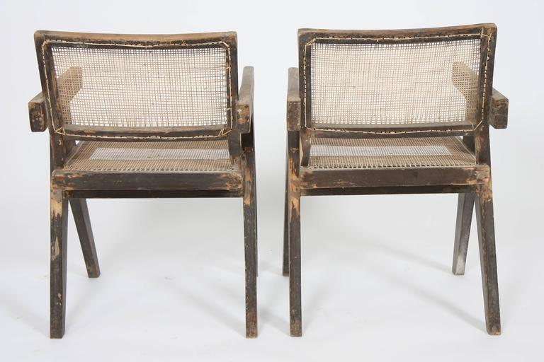 Pierre Jeanneret, Set of Two Armchairs Called Office Cane Chairs 4