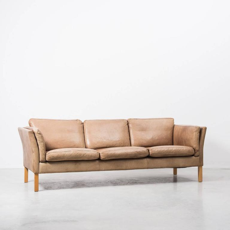 erik jørgensen sofa 1960s Erik Jørgensen Danish Tan Leather Sofa at 1stdibs erik jørgensen sofa