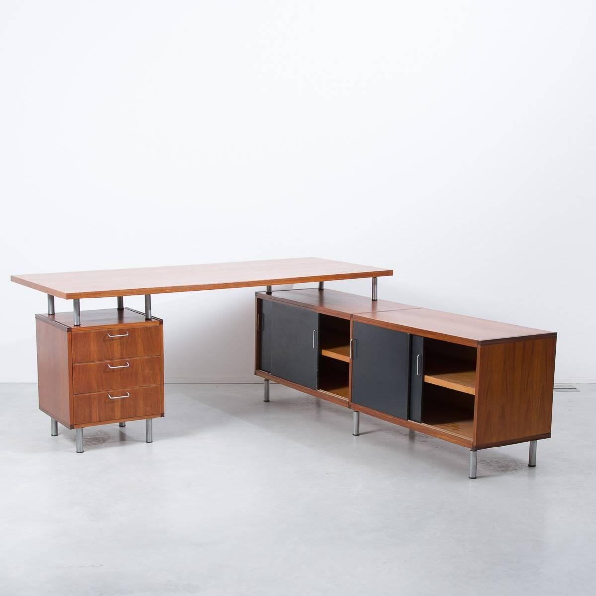 1950s Cees Braakman Pastoe L Shaped Executive Desk Netherlands For . Full resolution‎  picture, nominally Width 1200 Height 1200 pixels, picture with #7A4225.