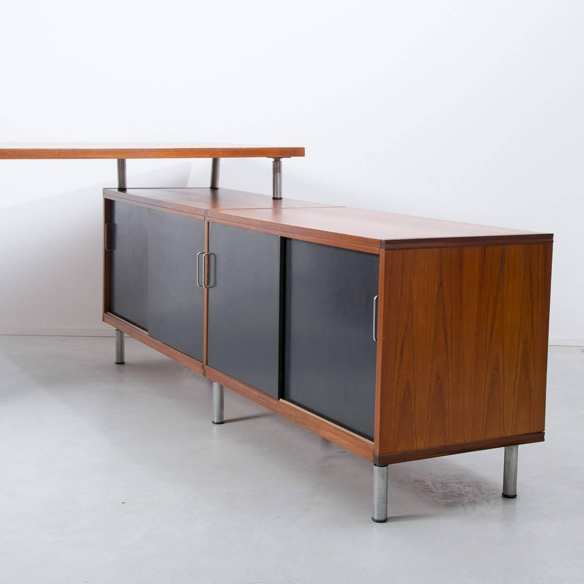 1950s Cees Braakman Pastoe L Shaped Executive Desk Netherlands For . Full resolution‎  picture, nominally Width 1200 Height 1200 pixels, picture with #6C3514.