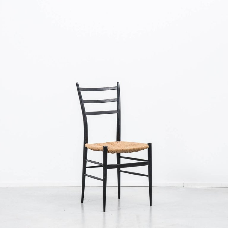 Mid-Century Modern Set of 4 Chiavari Spinetto Dinning Chairs, Chiavari, Italy, 1950s For Sale