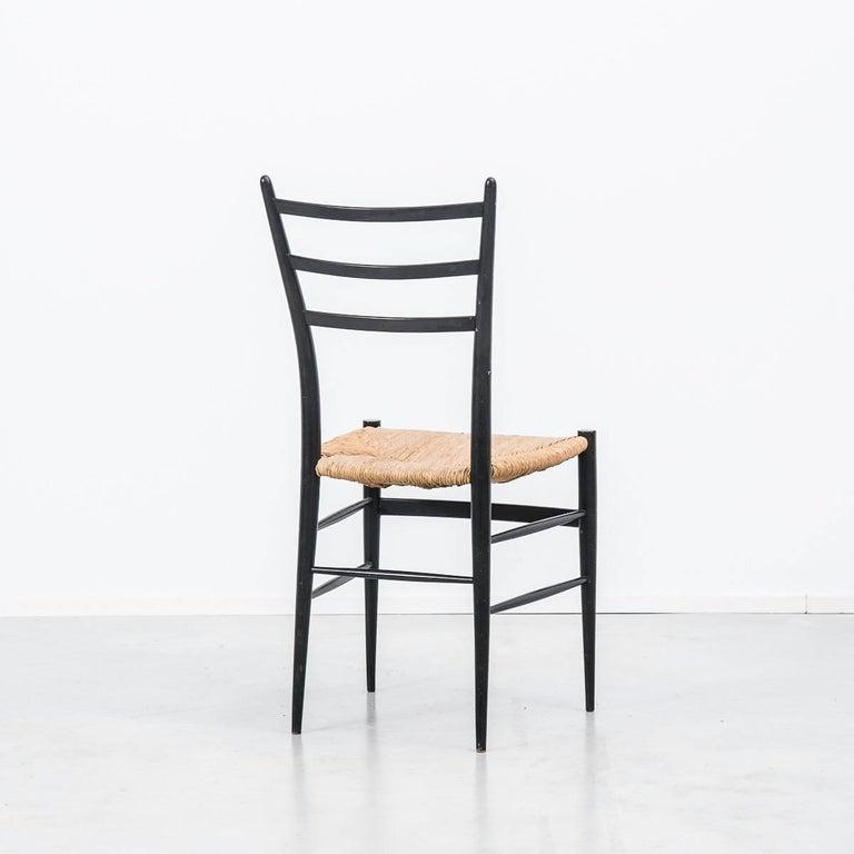 Ebonized Set of 4 Chiavari Spinetto Dinning Chairs, Chiavari, Italy, 1950s For Sale
