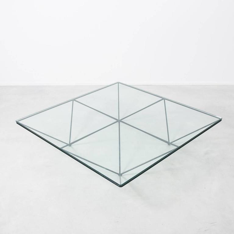Italian Paolo Piva For B Italia Alanda Modernist Geometric Glass Coffee Table