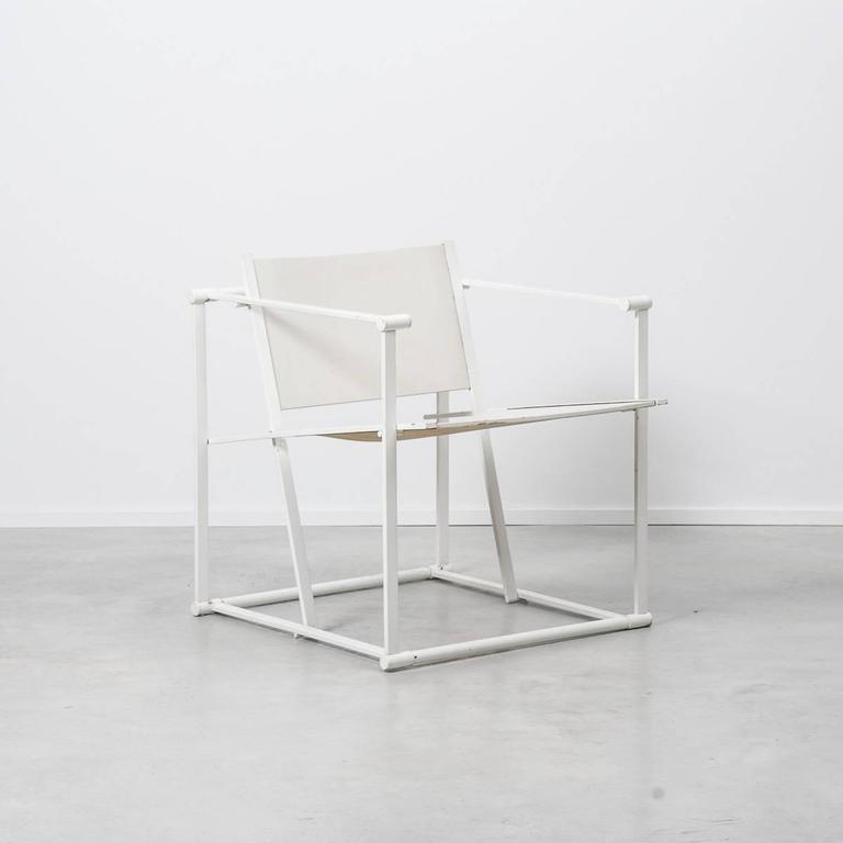 De Stijl Radboud Van Beekum White FM61 Cube Chairs for Pastoe, Netherlands, 1982 For Sale