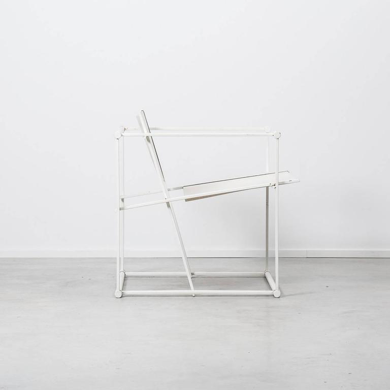 Dutch Radboud Van Beekum White FM61 Cube Chairs for Pastoe, Netherlands, 1982 For Sale