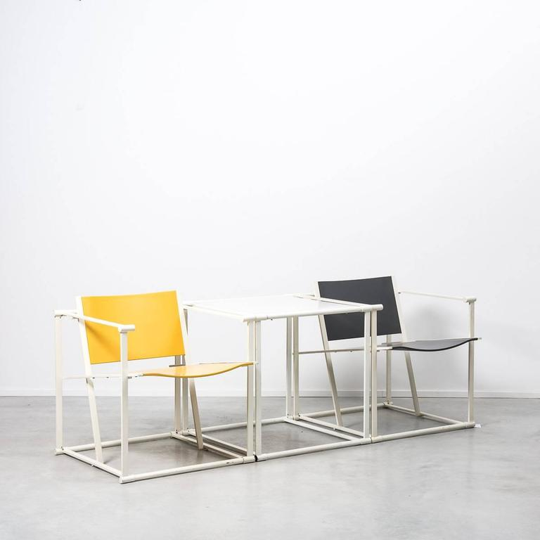 20th Century Radboud Van Beekum White FM61 Cube Chairs for Pastoe, Netherlands, 1982 For Sale