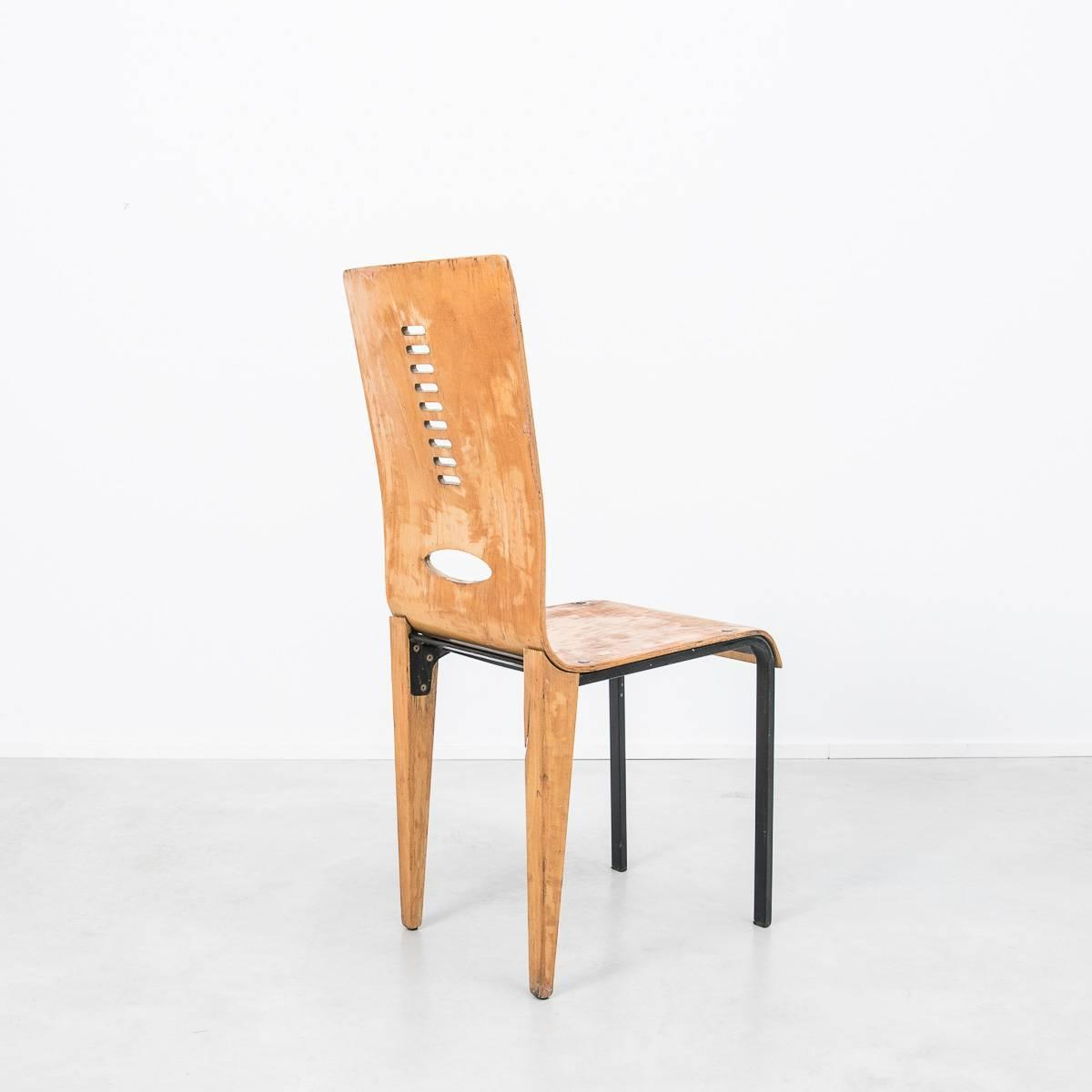 Early French Modernist Dining Chair In The Manner Of Jean Prouve For Sale At