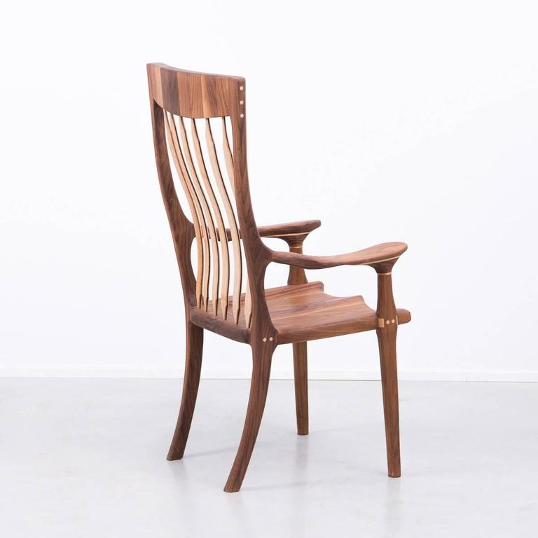 British Walnut and Maple Chair in Manner of Sam Maloof For Sale