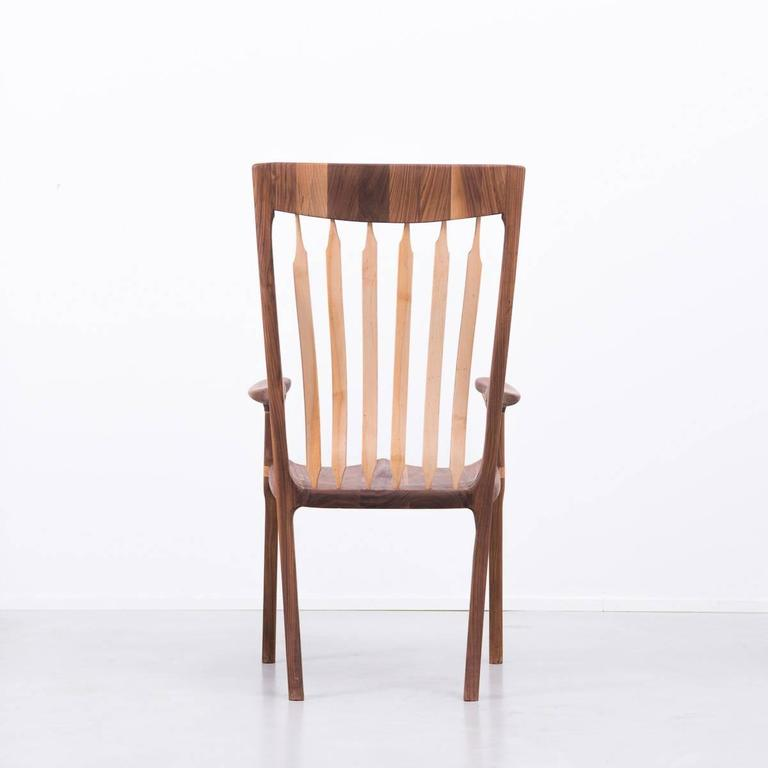 Walnut and Maple Chair in Manner of Sam Maloof In Excellent Condition For Sale In London, GB