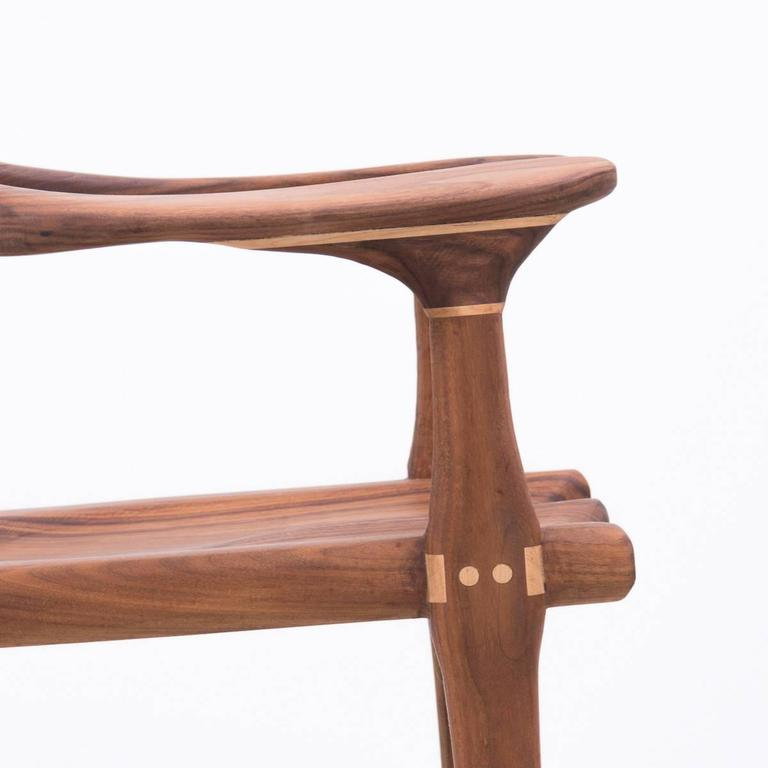 Late 20th Century Walnut and Maple Chair in Manner of Sam Maloof For Sale