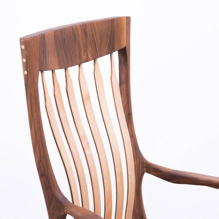 Walnut and Maple Chair in Manner of Sam Maloof For Sale 1