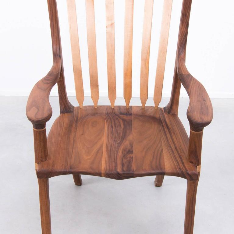 Walnut and Maple Chair in Manner of Sam Maloof For Sale 2