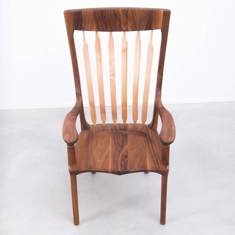 Walnut and Maple Chair in Manner of Sam Maloof For Sale 3
