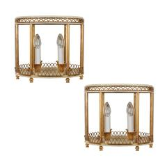Pair of French Wall-Mounted Wall Lights with Mirrored Backs and Tops