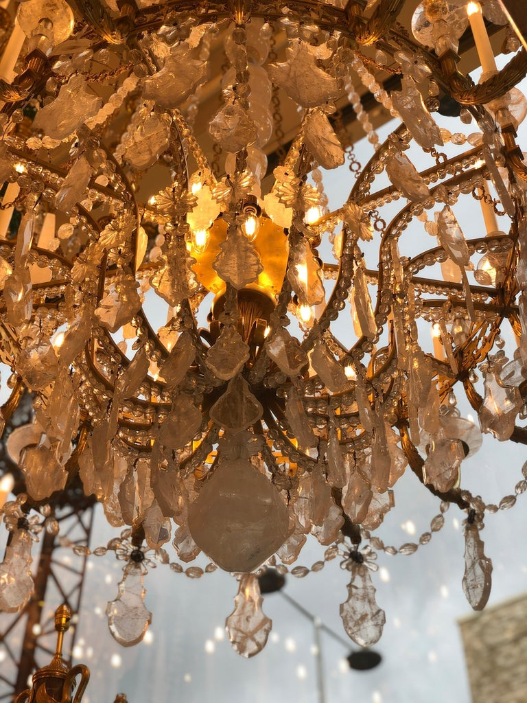 Monumental Pair of Hand-Carved Rock Crystal, Bronze and Ormolu Chandeliers For Sale 10