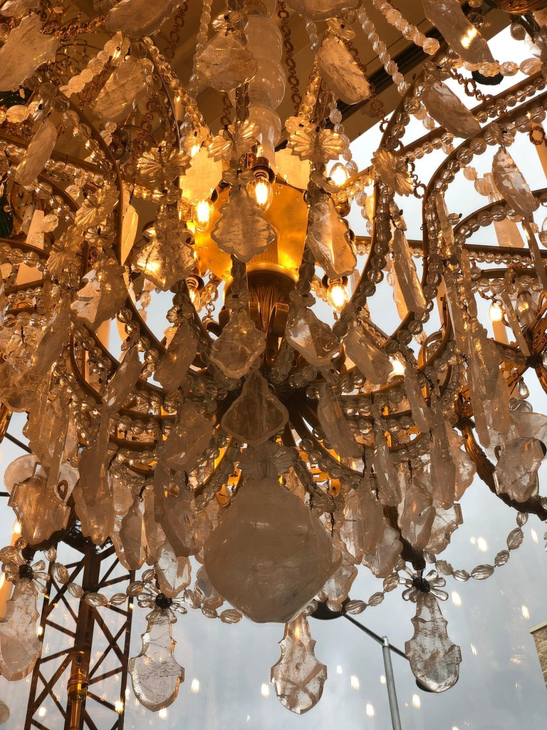 Monumental Pair of Hand-Carved Rock Crystal, Bronze and Ormolu Chandeliers For Sale 6