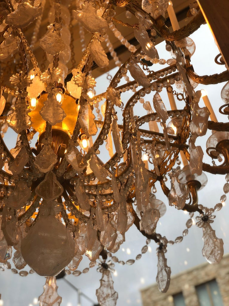 Monumental Pair of Hand-Carved Rock Crystal, Bronze and Ormolu Chandeliers For Sale 8