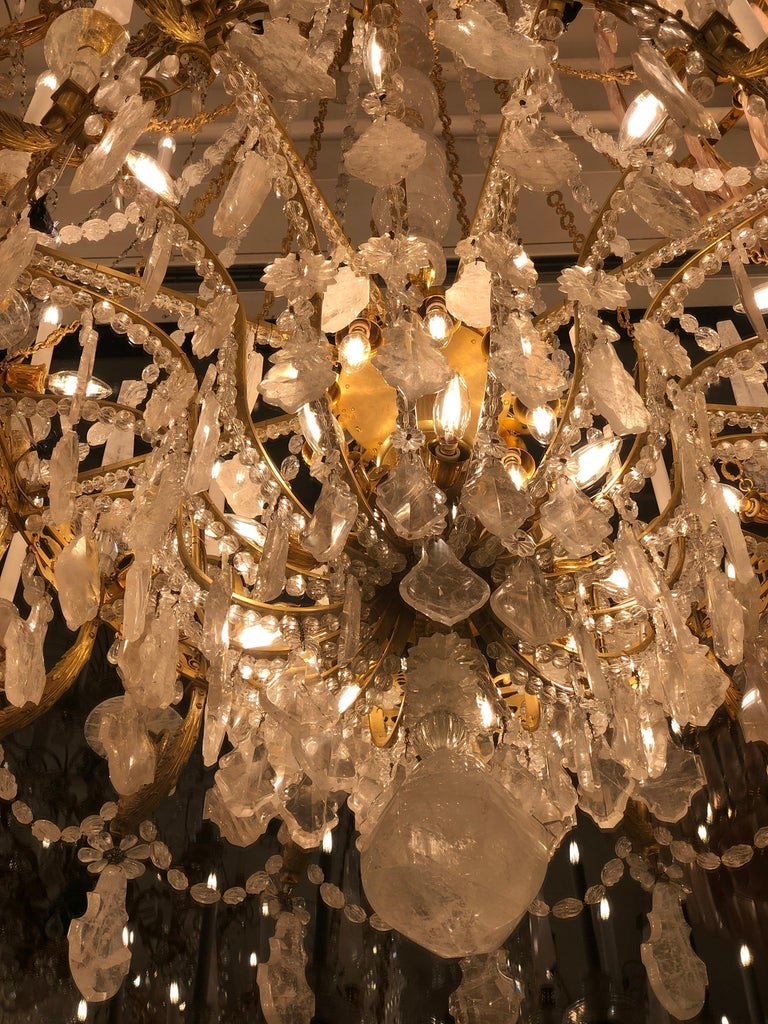 Monumental Pair of Hand-Carved Rock Crystal, Bronze and Ormolu Chandeliers For Sale 12