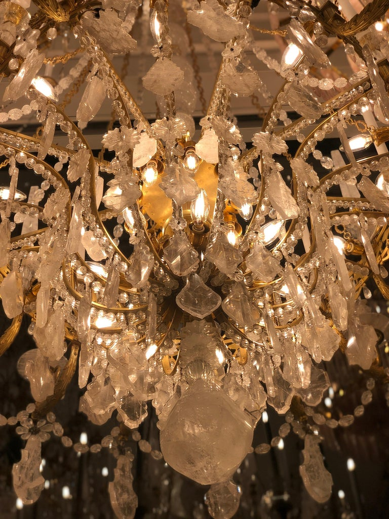 Monumental Pair of Hand-Carved Rock Crystal, Bronze and Ormolu Chandeliers For Sale 13