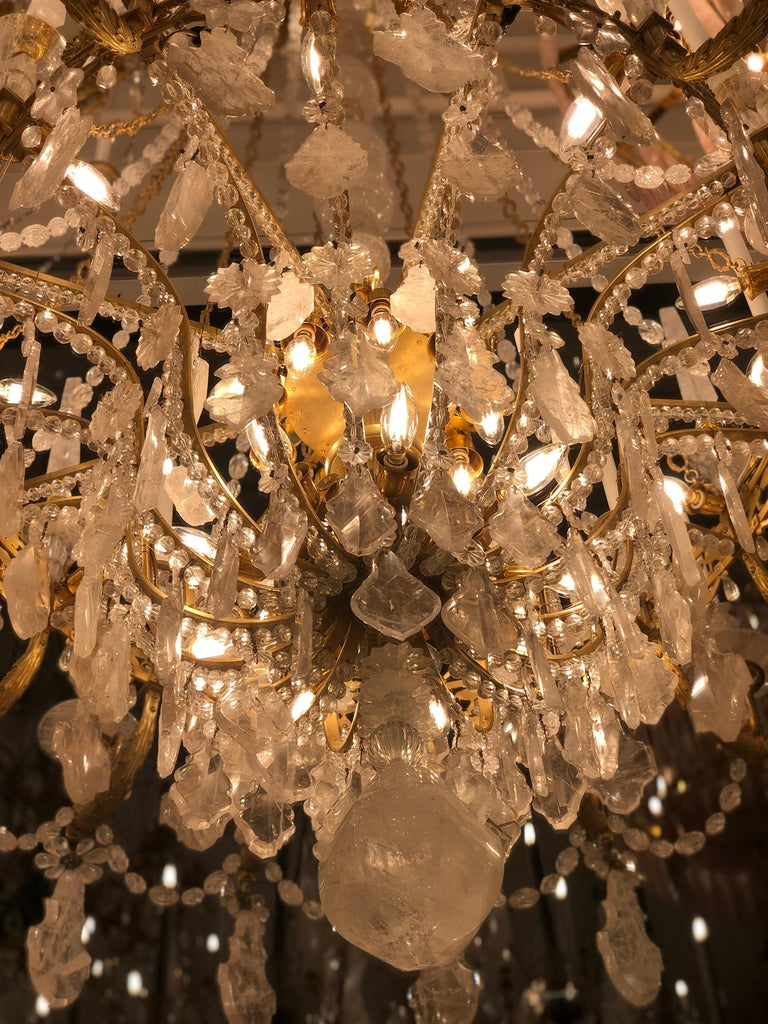 Monumental Pair of Hand-Carved Rock Crystal, Bronze and Ormolu Chandeliers For Sale 14