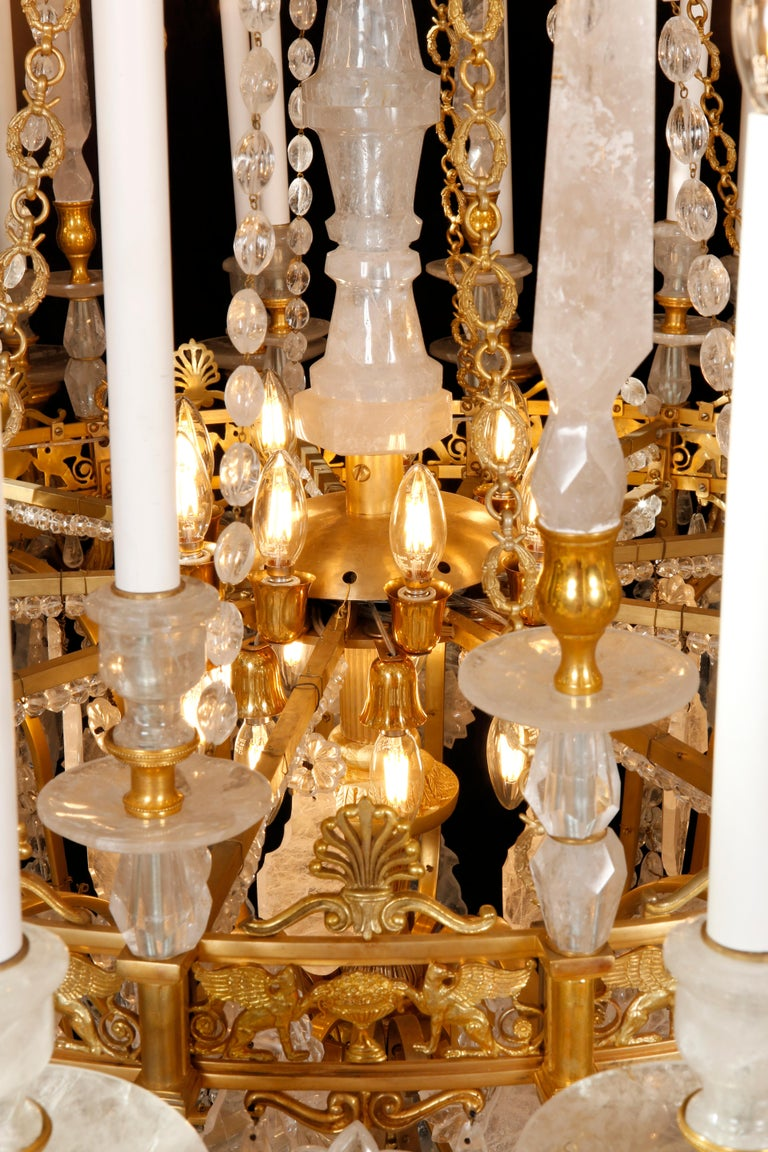 Monumental Pair of Hand-Carved Rock Crystal, Bronze and Ormolu Chandeliers For Sale 1